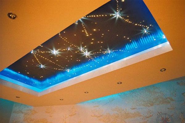 Установка точечных и встраиваемых светильников для натяжных потолков